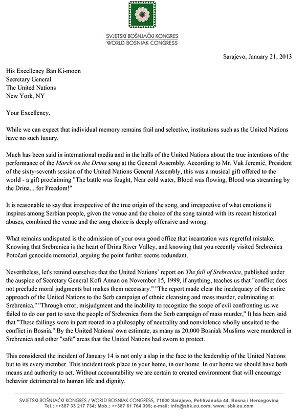 World Bosniak Congress - letter to HE Ban Ki-moon Jan 21-1